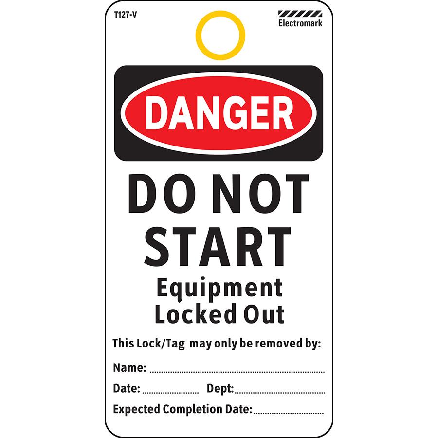 OSHA Danger Do Not Start Equipment Tag - Vinyl