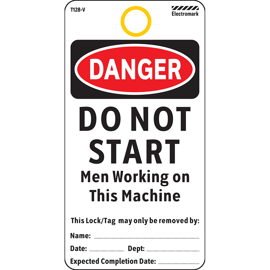OSHA Danger Do Not Start Men Working On Machine Tag - Vinyl