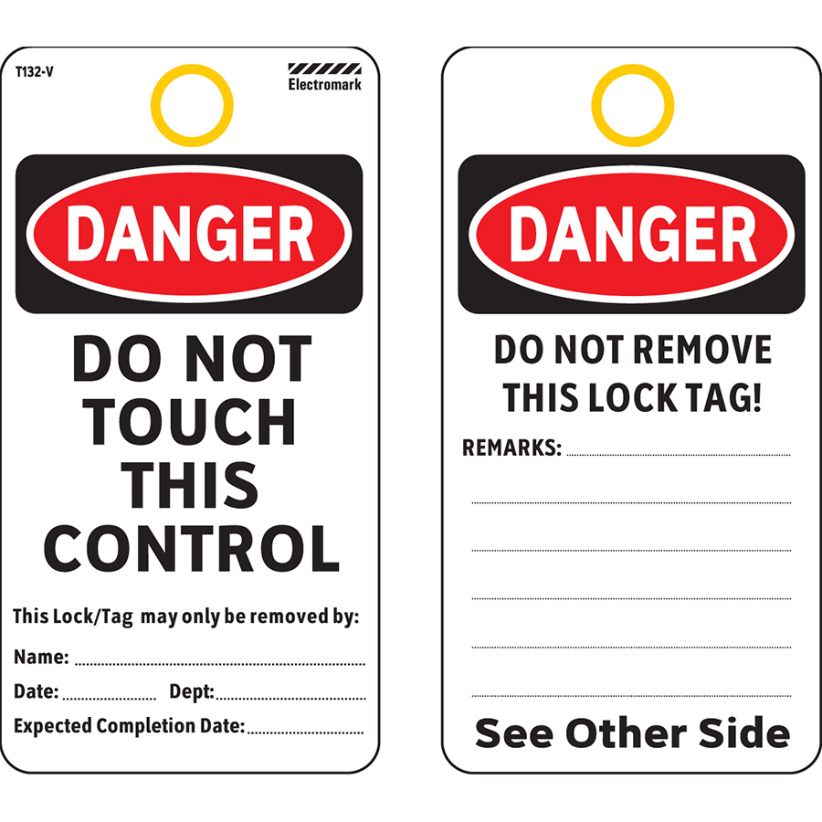 OSHA Danger Do Not Touch This Control Tag - Vinyl