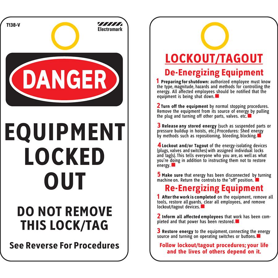 OSHA Danger De Energizing Equipment Procedue Tag - Vinyl