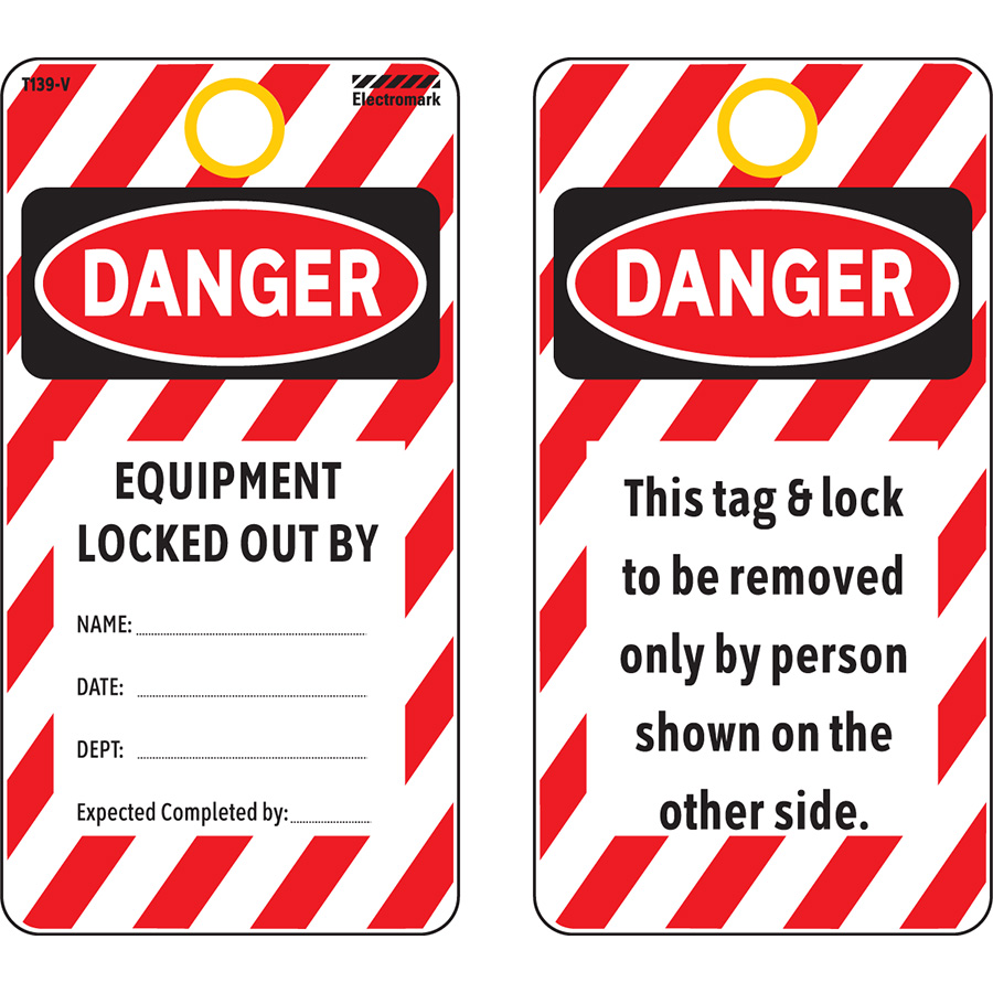 OSHA Danger Equipment Locked Out By Tag - Vinyl