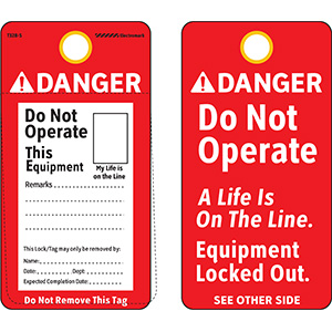 ANSI Danger Do Not Operate This Equipment Tag