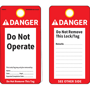 ANSI Danger Do Not Operate Tag - Polyester
