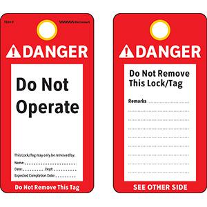 ANSI Danger Do Not Operate Tag - Vinyl