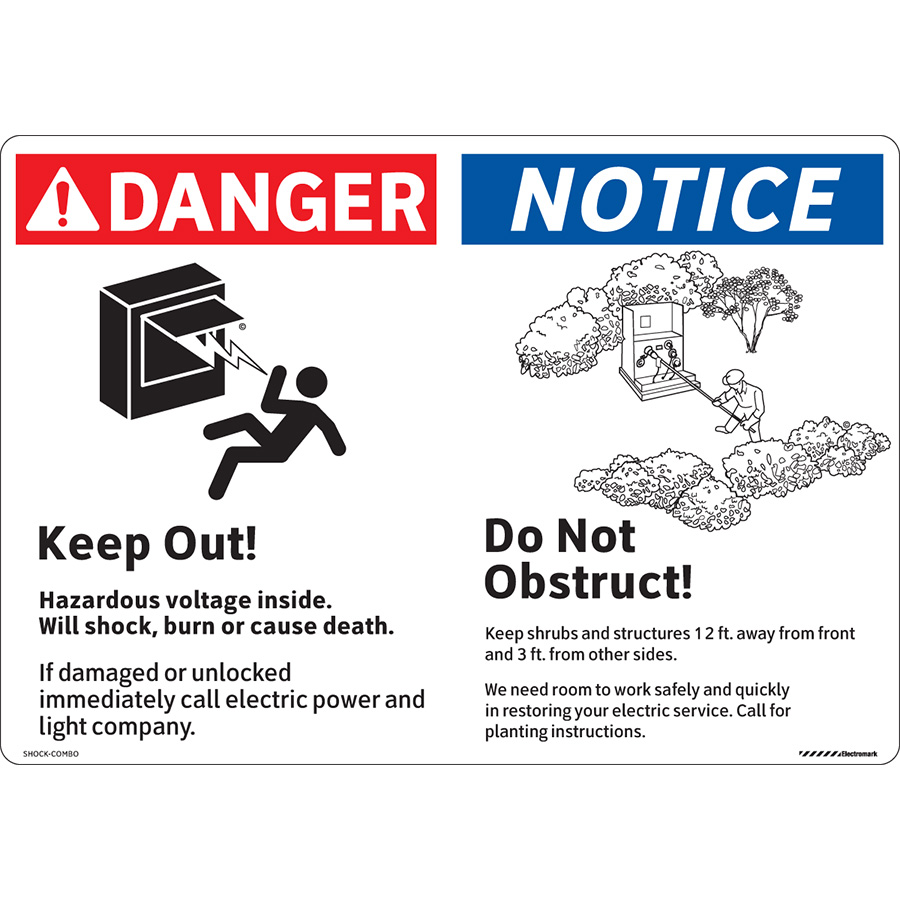 ANSI Multi-Header Danger  Keep Out! and Notice Do Not Obstruct! Label