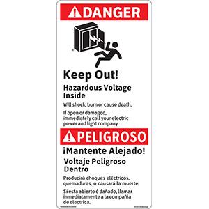ANSI Bilingual Danger Keep Out! Hazardous Voltage Inside Label