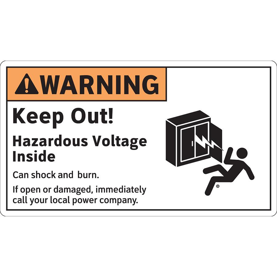 ANSI Horizontal Warning Keep Out! Hazardous Voltage Inside Labels