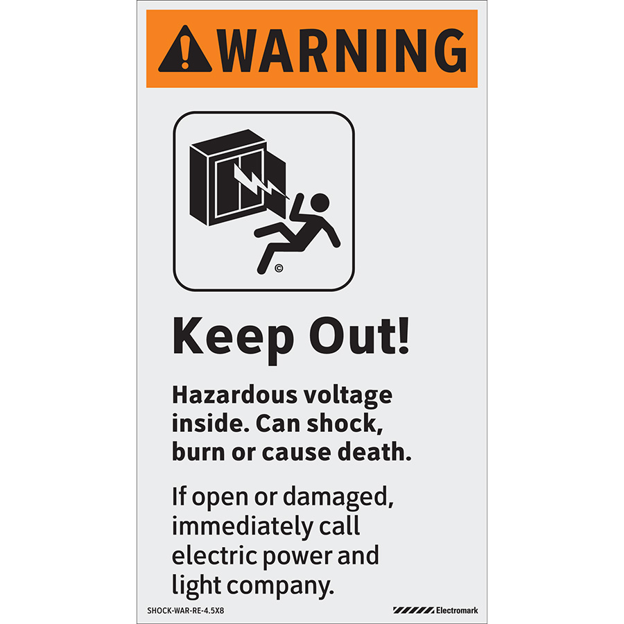 ANSI Vertical Warning Keep Out! Hazardous Voltage Inside Labels