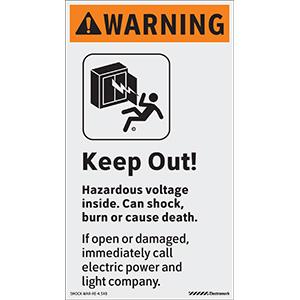 ANSI Vertical Warning Keep Out! Hazardous Voltage Inside Labels