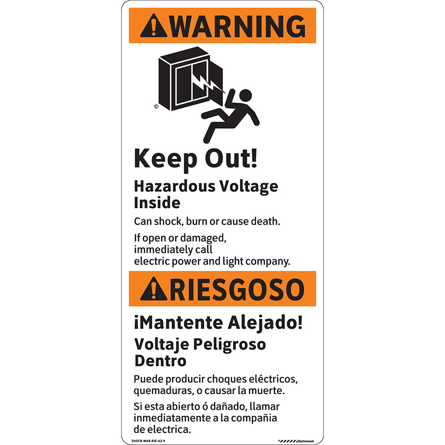 ANSI Bilingual Vertical Warning Keep Out! Hazardous Voltage Inside Label