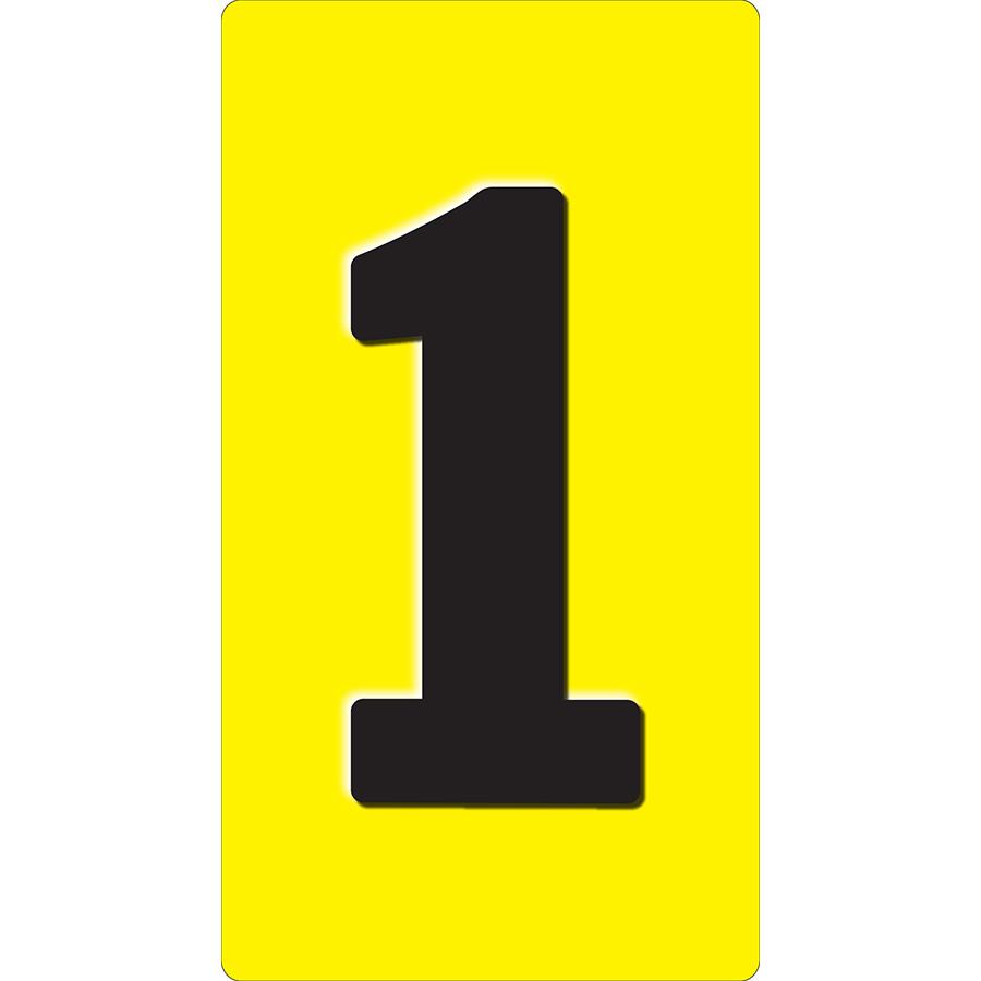 """1"""" Black on Yellow Embossed Metal Slide-In Markers 0-9"""