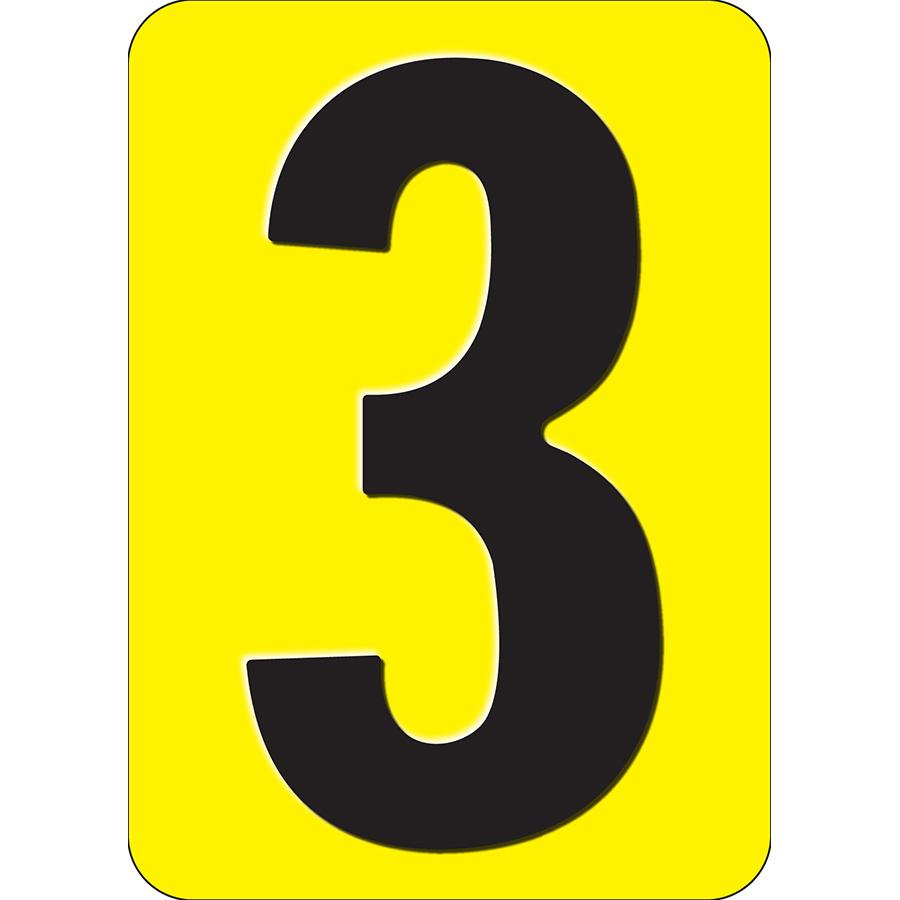 """3"""" Black on Yellow Embossed Metal Slide-In Markers 0-9"""