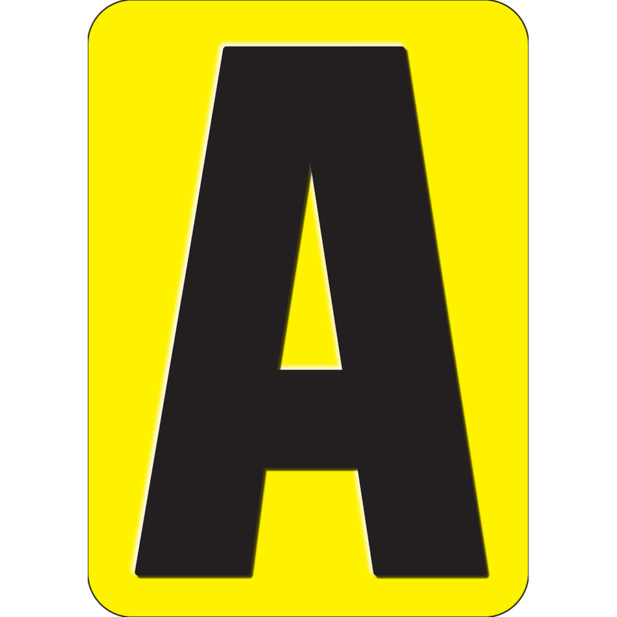 """3"""" Black on Yellow Embossed Metal Slide-In Markers A-Z"""