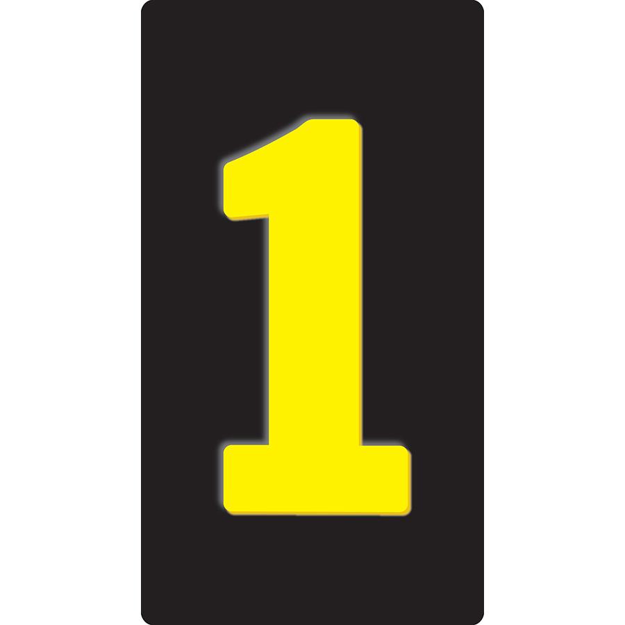 """1"""" Yellow on Black Embossed Metal Slide-In Markers 0-9"""