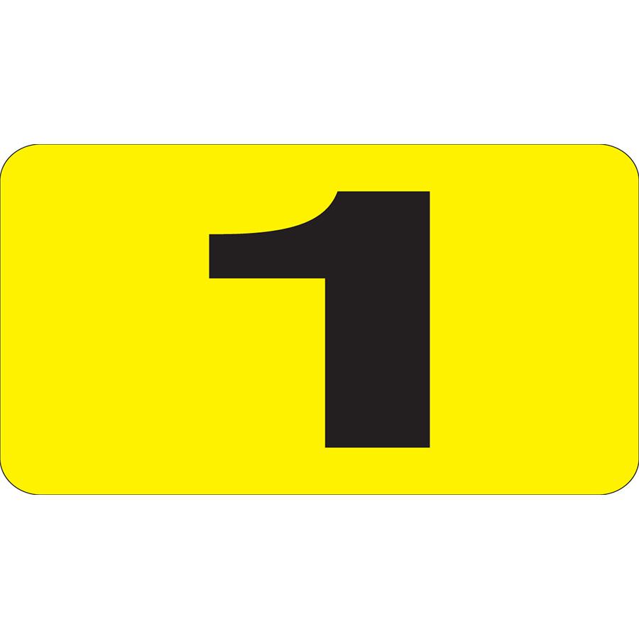 "1"" Vertical, Black on Yellow, Flat Metal 0-9 Slide-In Markers 0-9"