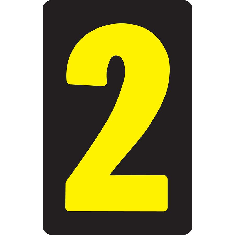 "2"" Yellow on Black Flat Metal Slide-In Markers 0-9"
