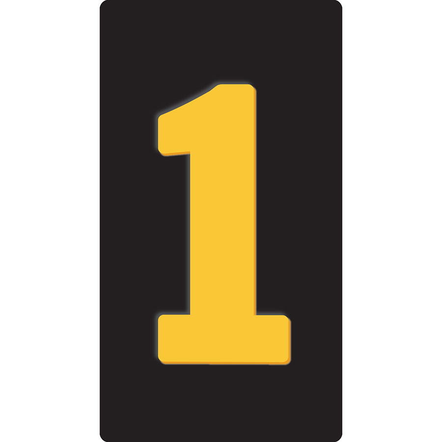 """1"""" Yellow on Black Reflective Embossed Metal Slide-In Markers 0-9"""
