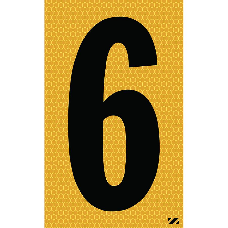 "2.5"" Black on Yellow SunBright® Reflective ""6"""