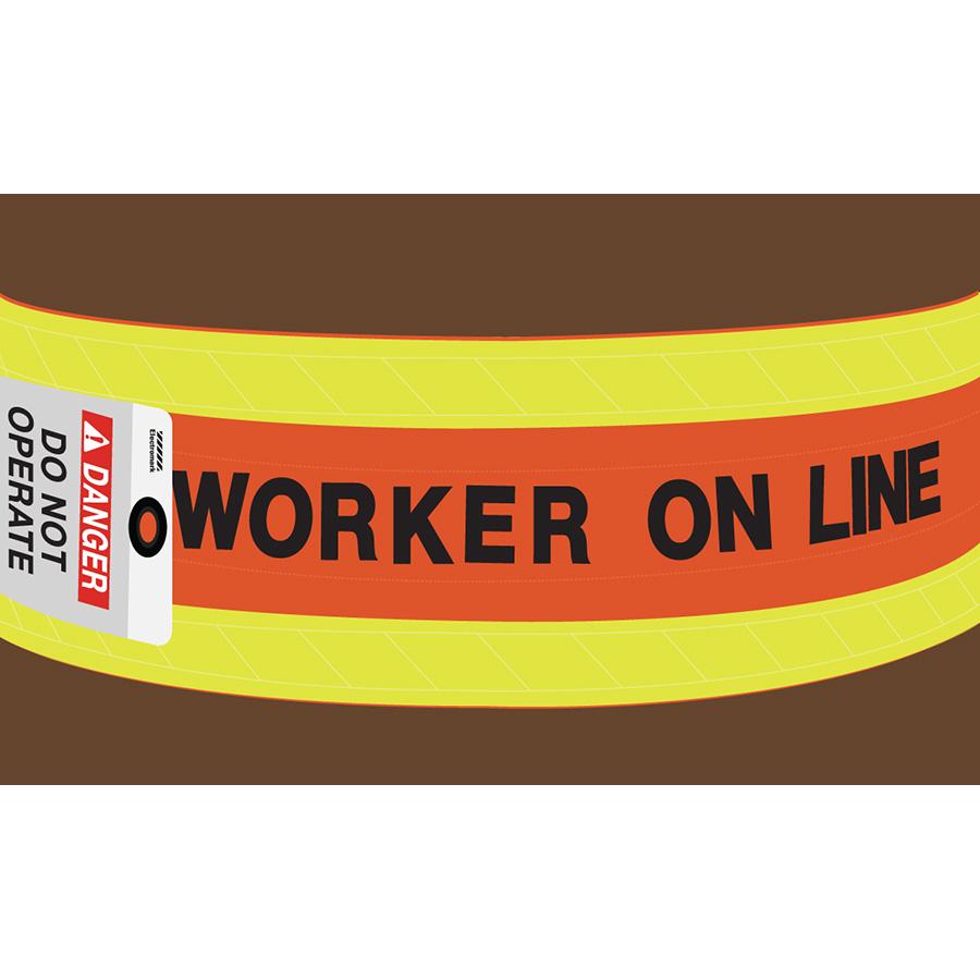 Worker On Line Wrap-Around Sign