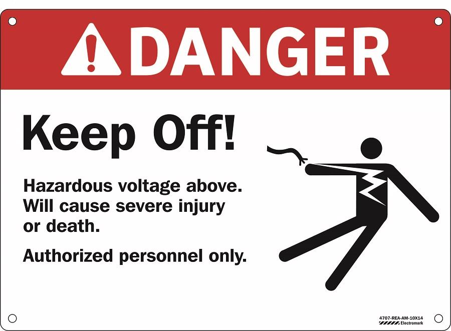 Danger Hazardous Voltage Above Sign