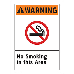 Warning No Smoking in This Area Sign