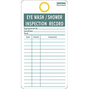 Eye Wash/Shower Inspection Record Tag