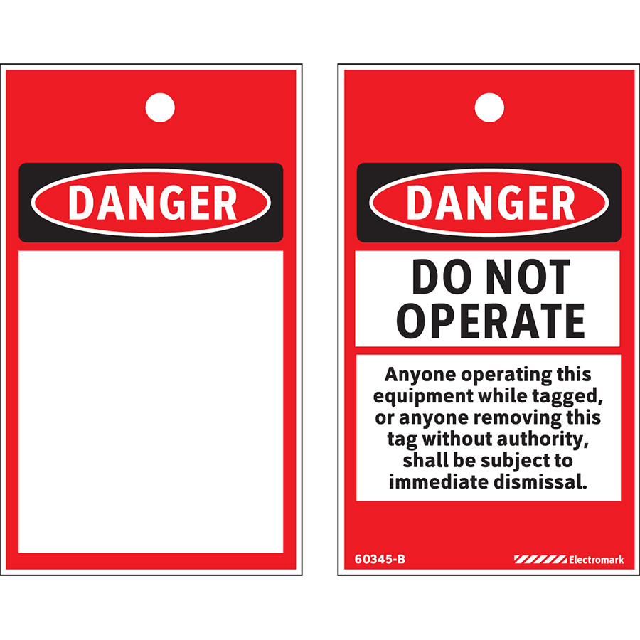 OSHA Danger Do Not Operate Print On-Demand Tag - Center Hole Slot, 200/roll