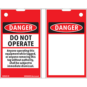 OSHA Danger Do Not Operate Print On-Demand Tag