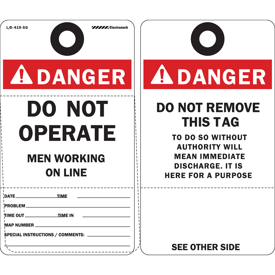 ANSI Danger Do Not Operate Perforated Tag