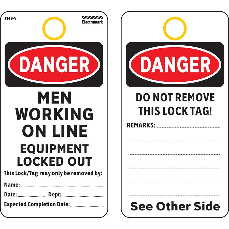 OSHA Danger Men Working On Line Tag