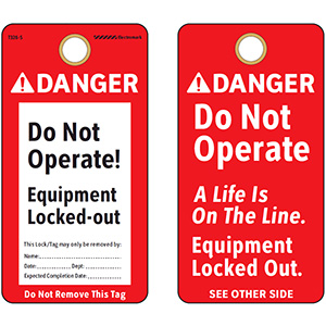 ANSI Danger Do Not Operate Equipment Tag